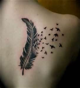 feather tattoo with birds flying away #love | Tattoo ...