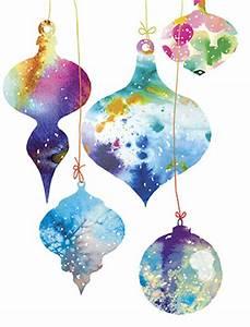 Christmas Watercolor Ornaments holiday card by Masha D