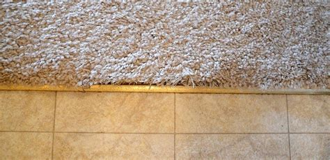 Tile To Carpet Transition Tack by How To Fix Frayed Carpet At Tile Transition Home