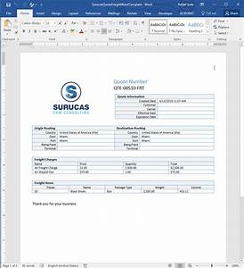 Creating freight quote templates in word surucas for Dynamics crm quote template