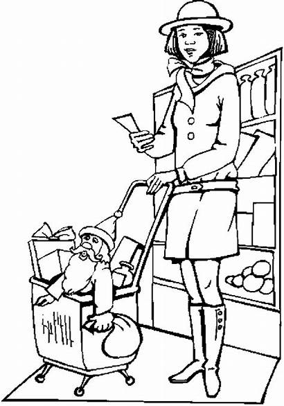 Shopping Christmas Coloring Pages
