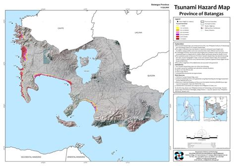tsunami prone areas  batangas  shown