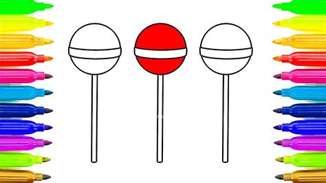 Lollipop Coloring Pages For Childrens Learn Colors For