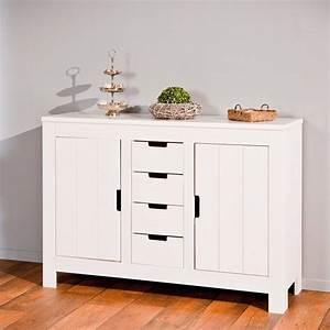 Commode 4 Tiroirs : commode 4 tiroirs 2 portes home blanc ~ Teatrodelosmanantiales.com Idées de Décoration