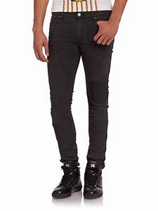 Lyst - Versace Jeans Distressed Skinny Jeans in Black for Men