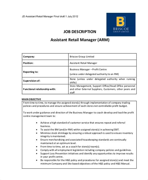 Resume Templates For Retail Management by Sle Retail Management Resume 8 Exles In Word Pdf