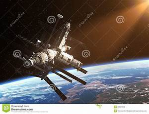 Space Station In The Rays Of The Sun Stock Illustration ...