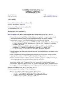 regulatory affairs resume sles regulatory affairs associate resume