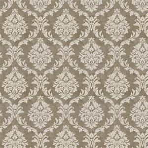 Mocha Damask Fabric by the Yard Brown Fabric Carousel
