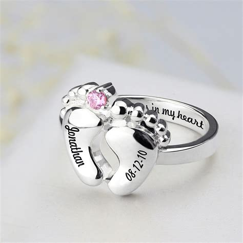 baby feet ring  birthtone date ring  mothers