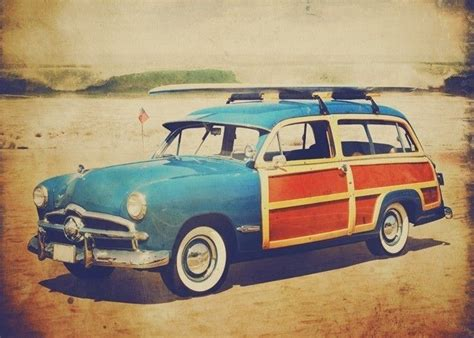 vintage surf car vintage woody car with surfboard beep beep pinterest