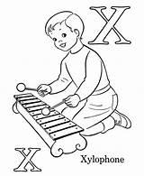 Coloring Xylophone Letter Sheets Template Bulk Bulkcolor Alphabet sketch template