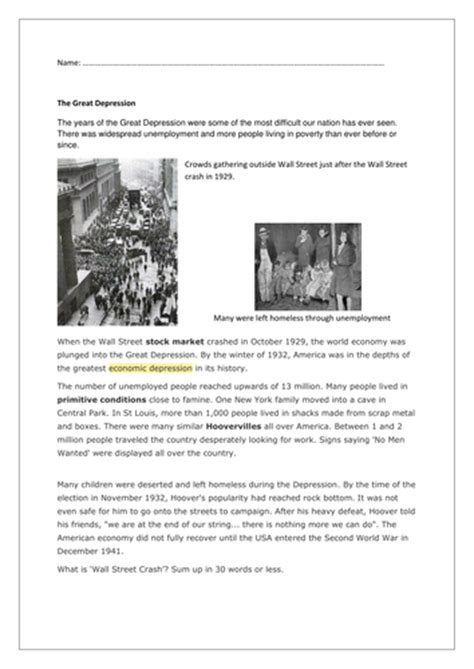 The causes of the great depression and how it affected american society. An overview of the great depression commonlit answer key