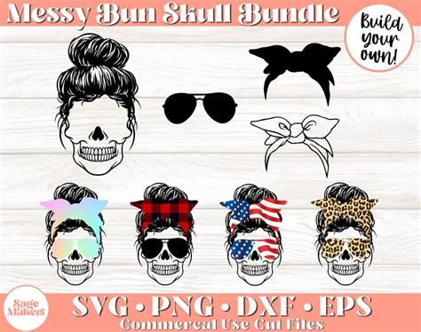 You will receive the following archived files: Messy Bun Skull SVG Bundle Skull Svg Files For Cricut | Etsy