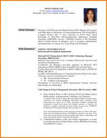 exles of career overviews for resume career summary resume
