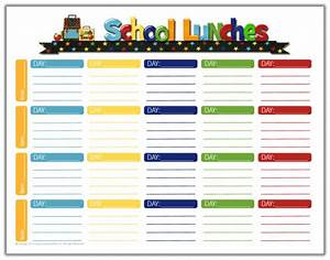school lunch ideas a free school lunches printable With school lunch calendar template