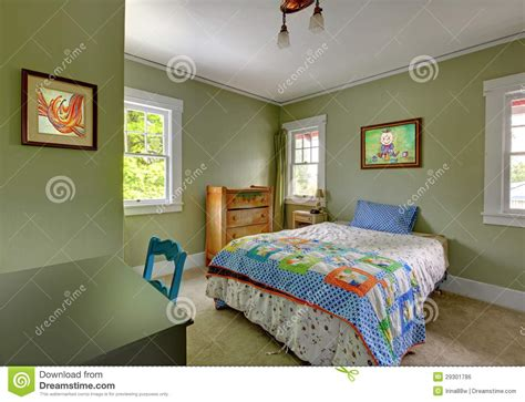 Kids Bedroom With Desk And Green Walls Royalty Free Stock