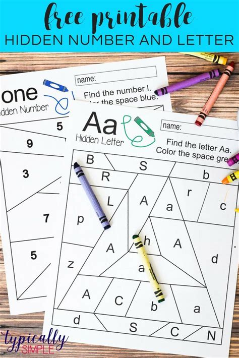 hidden letter number free printable number identification number recognition and free