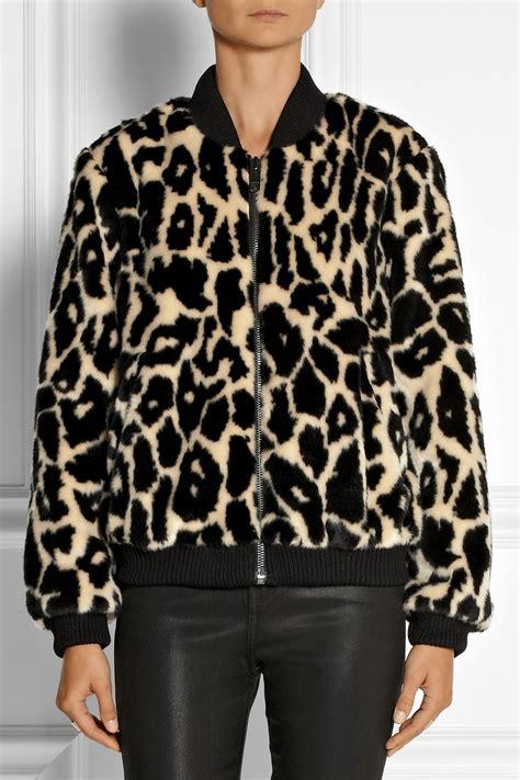Lyst - DKNY Leopard-Print Faux Fur Bomber Jacket in Black