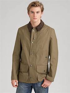 burberry canvas barn jacket in green for men taupe lyst With burberry barn jacket