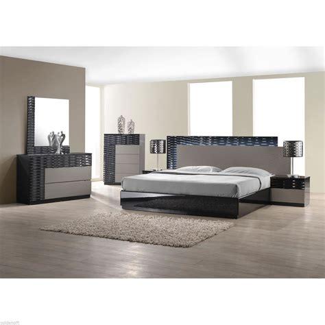 furniture modern king size bed platform frame w led lighting Modern
