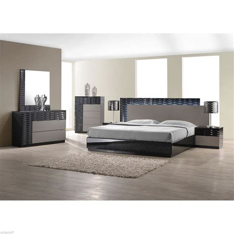 Modern King Size Bed Platform Frame W Led Lighting