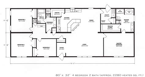 4 bedroom floor plans 2 4 bedroom floor plan f 1001 hawks homes manufactured