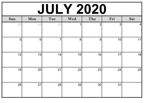 This themed printable calendar is free and ready to print and use. Free Printable July 2020 Calendar Monthly Template