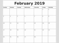 February 2019 Calendar Print Out