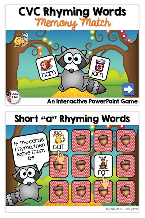 short vowel cvc rhyming words memory match interactive