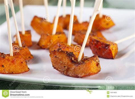 canapé pumpkin roasted pumpkin appetizer royalty free stock photo image