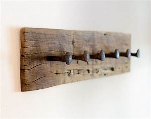 Rustic coat rack wall hanger with 6 railroad by