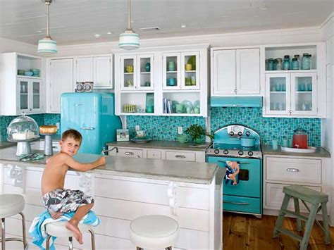 Teal Kitchen White Cabinets by Retro Turquoise And White Kitchen Panda S House