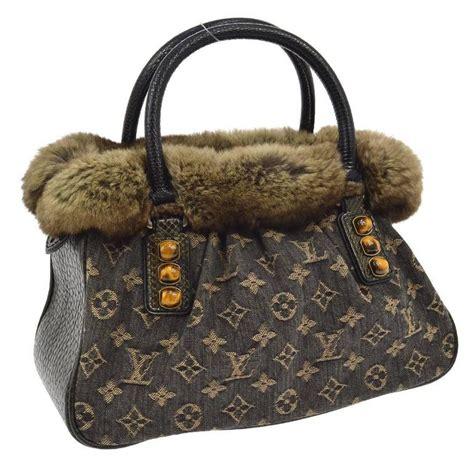 louis vuitton limited edition brown monogram fur top handle evening satchel bag  stdibs