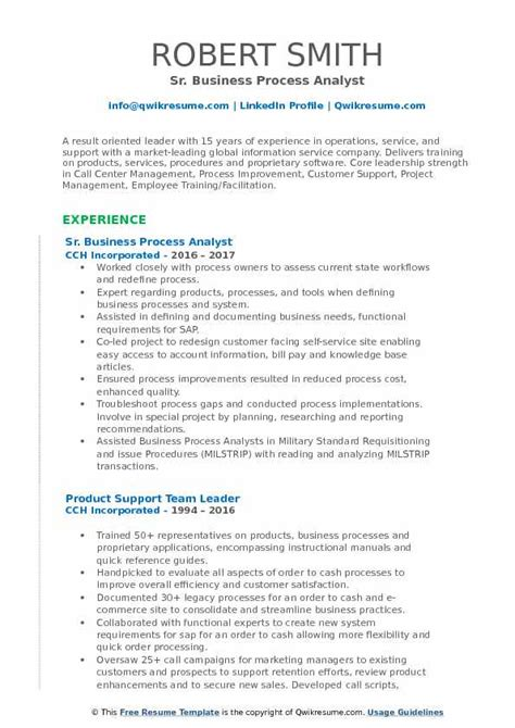 business process analyst resume sles qwikresume