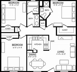 three bedroom apartment plan house pinterest pool With 3 bedroom flat house plan