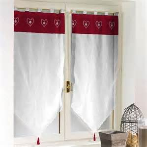Rideau Esprit Chalet paire de rideaux voile hauteur 160 cm blanc rouge esprit