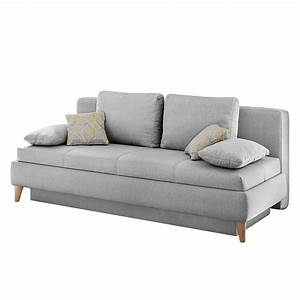 Canape convertible limba tissu gris clair home design for Canapé home design