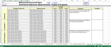 balanced scorecard excel template templates