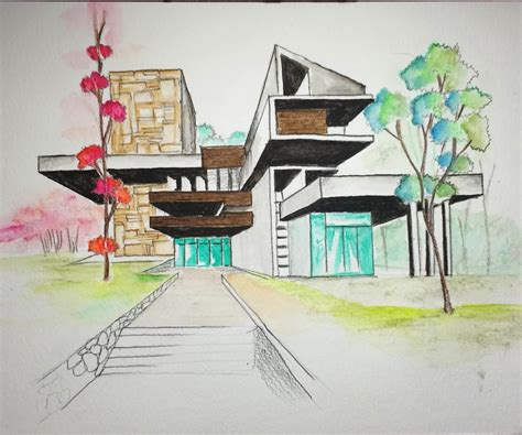modern house plans free watercolor pencil 2 architectural freehand one point