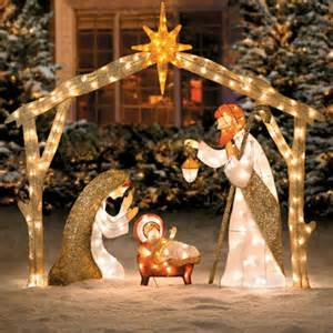 outdoor nativity pre lit set lighted nativity sets holy family creshe display yard decor