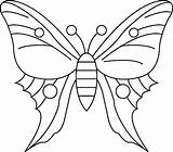 Butterfly Coloring Drawing Simple Pages sketch template