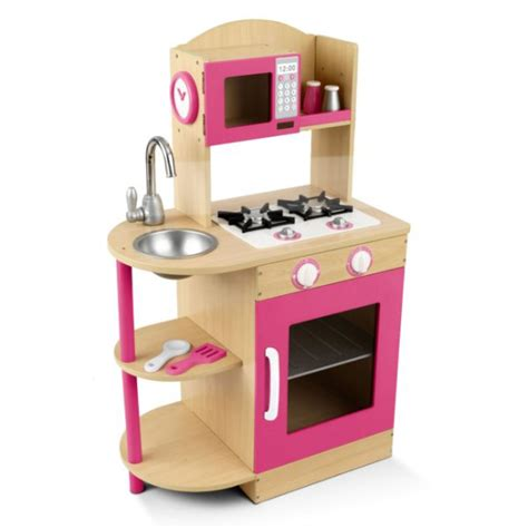 kidkraft modern pink wooden kitchen girlskids play set