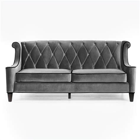Barrister Loveseat by Armen Living Barrister Velvet Sofa In Gray Lc8443gray