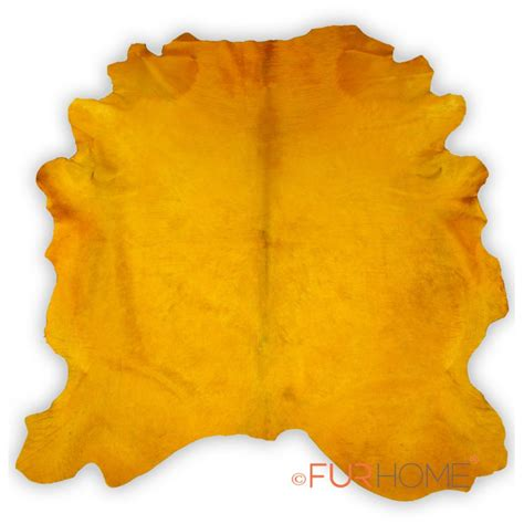 Yellow Cowhide Rug by Pop Yellow Dyed Contemporary Large Cowhide Rug Fur Home