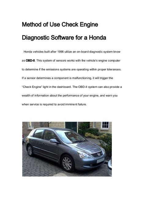 on board diagnostic system 1987 honda accord transmission control method of use check engine diagnostic software for a honda
