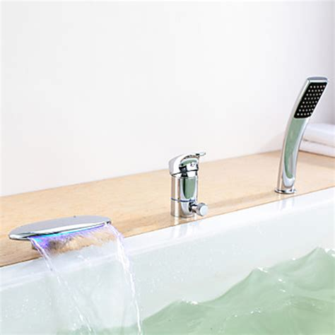 bathtub faucet single handle chrome finish led color changing bathtub faucet single