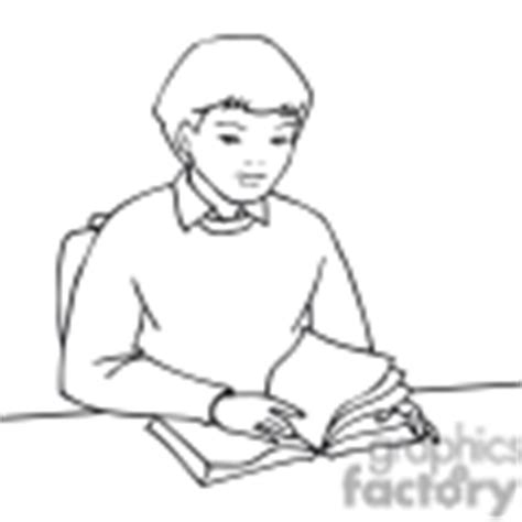 11892 student reading clipart black and white royalty free black and white outline of a reading a
