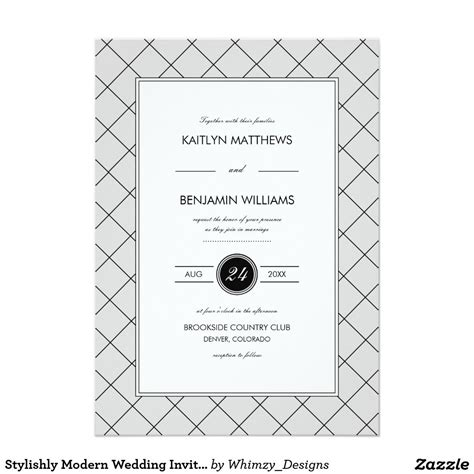 Stylishly Modern Wedding Invitation Gray Zazzle com