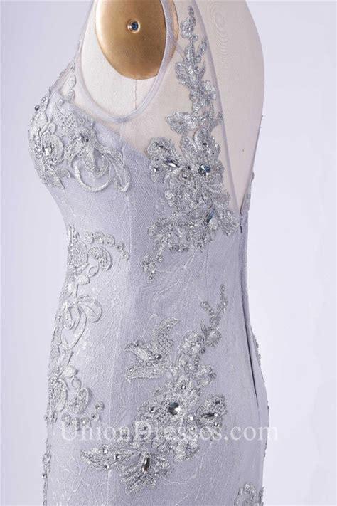 Sheath Scoop Neck V Back Silver Tulle Lace Applique Prom Dress